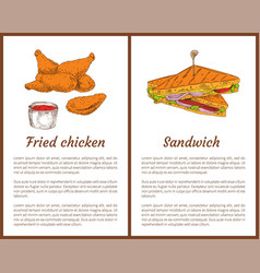 Fried chicken and sandwich vector