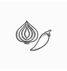 Garlic and chilli sketch icon vector