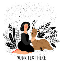girl with deer animal vector image