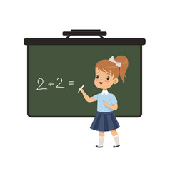 Girl writing english letters on blackboard vector