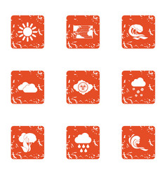 Global climate warming icons set grunge style vector