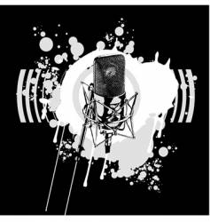 Graffiti black and white microphone vector