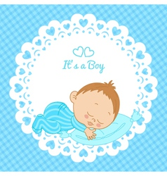 Greeting card with the birth of a boy vector image