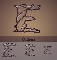 Halloween decorative alphabet - E letter vector