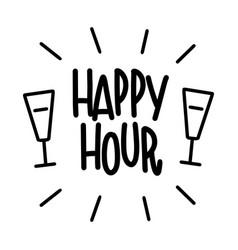 Happy hour description bar poster lettering for vector