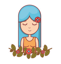 Hippie woman relaxing with flowers vector