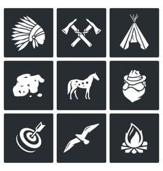 Indians Wild West and the Gold Rush icons set vector