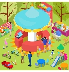 Isometric Children Toys Shop Interior with Toys vector image