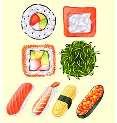 Japanese sushi roll and raw fish vector
