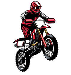 Jumping rider riding motocross vector