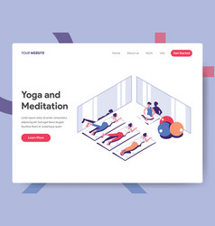 landing page template yoga and meditation vector image