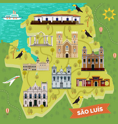 Landmarks on map of sao luis brazil sightseeing vector