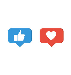 like icons thumb up and heart icons vector image