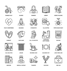 Line icon of senior and elderly care vector
