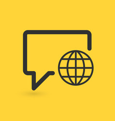 linear chat bubble with globe icon social network vector image