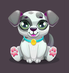 Little cute cartoon sitting puppy vector