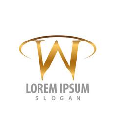 luxury w letter logo concept design symbol vector image