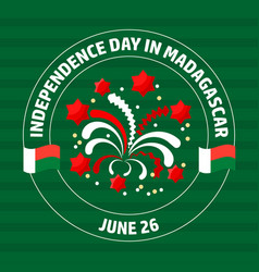Madagascar independence day label on green vector