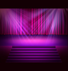 Magenta curtain with a spotlight and stair vector