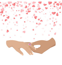 Man making proposal two woman hands icons vector