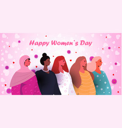 mix race women celebrating womens day 8 march vector image