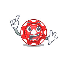 One finger gambling chips in mascot cartoon vector