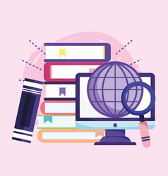 online education computer world stacked books vector image