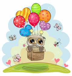Owl in the box is flying on balloons vector