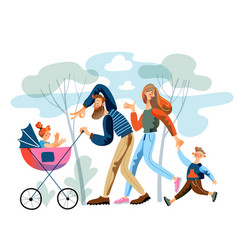 parents and children walking in park together vector image