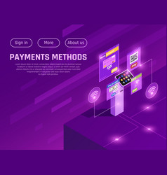 payment methods isometric web page vector image