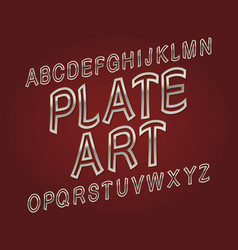 plate art typeface silver golden font isolated vector image