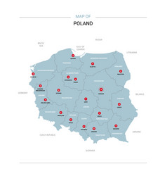poland map with red pin vector image