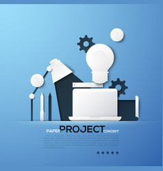 project paper concept laptop table lamp light vector image