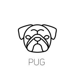 Pug linear face icon isolated outline dog head vector