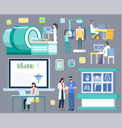 Radiology and mri or ct hospital and clinic set vector