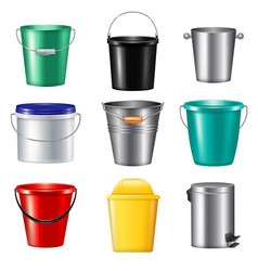 realistic buckets icon set vector image