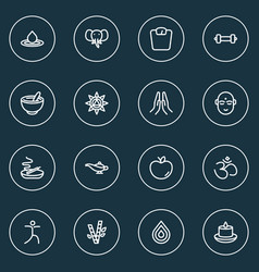 relax icons line style set with lamp prayer vector image