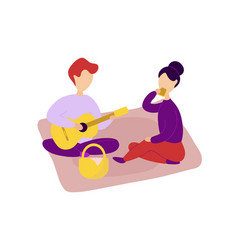 romantic couple in love having picnic together vector image