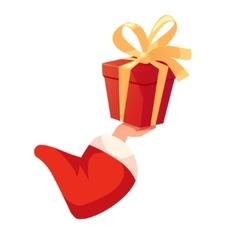 Santas hand holding gift box vector image