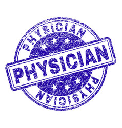 Scratched textured physician stamp seal vector