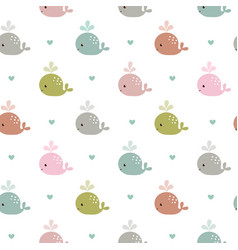 seamless pattern with whales vector image vector image