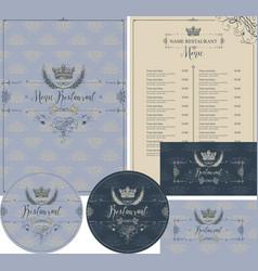 set design elements for restaurant with crown vector image
