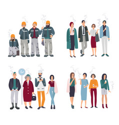 Set of smoking room different people on smoke vector