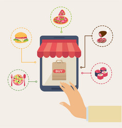 shopping for online food vector image
