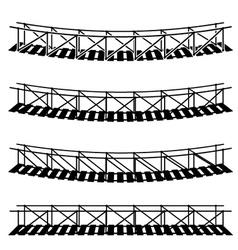 Simple rope suspension hanging bridge black symbol vector