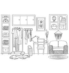 sketch of living wardrobe room interior vector image