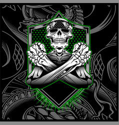 Skull bandana hand drawing vector