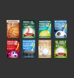 Sport posters set golf baseball ice vector