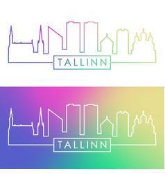 tallinn skyline colorful linear style editable vector image