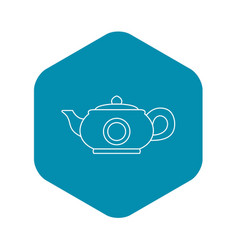 teapot icon outline style vector image
